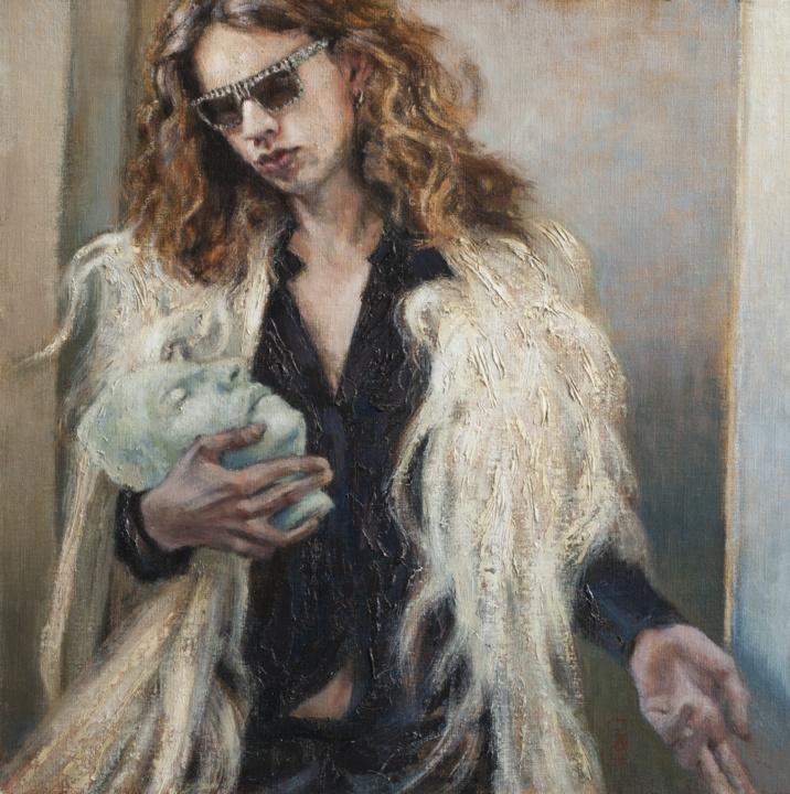 model, death mask and fur